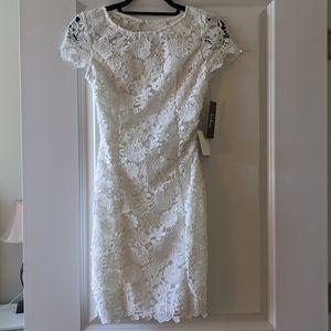 White lace bodycon open back dress